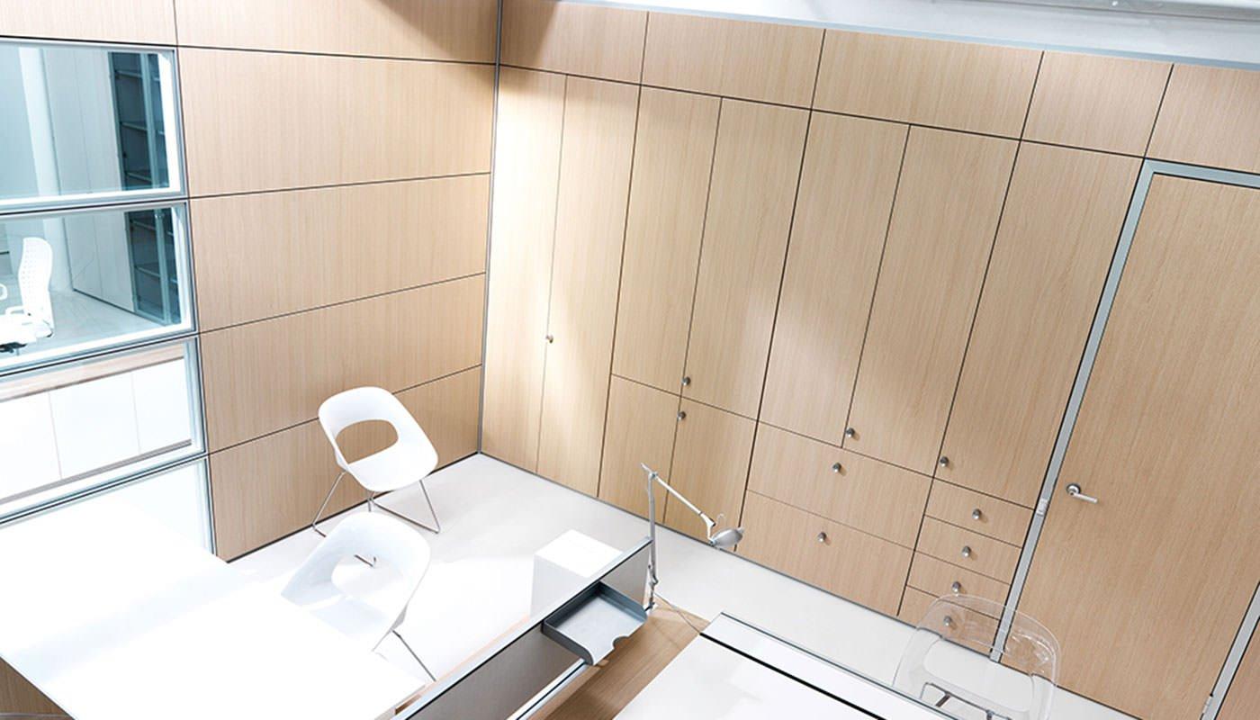Parete divisoria e attrezzata per ufficio ivm office for Pareti per ufficio