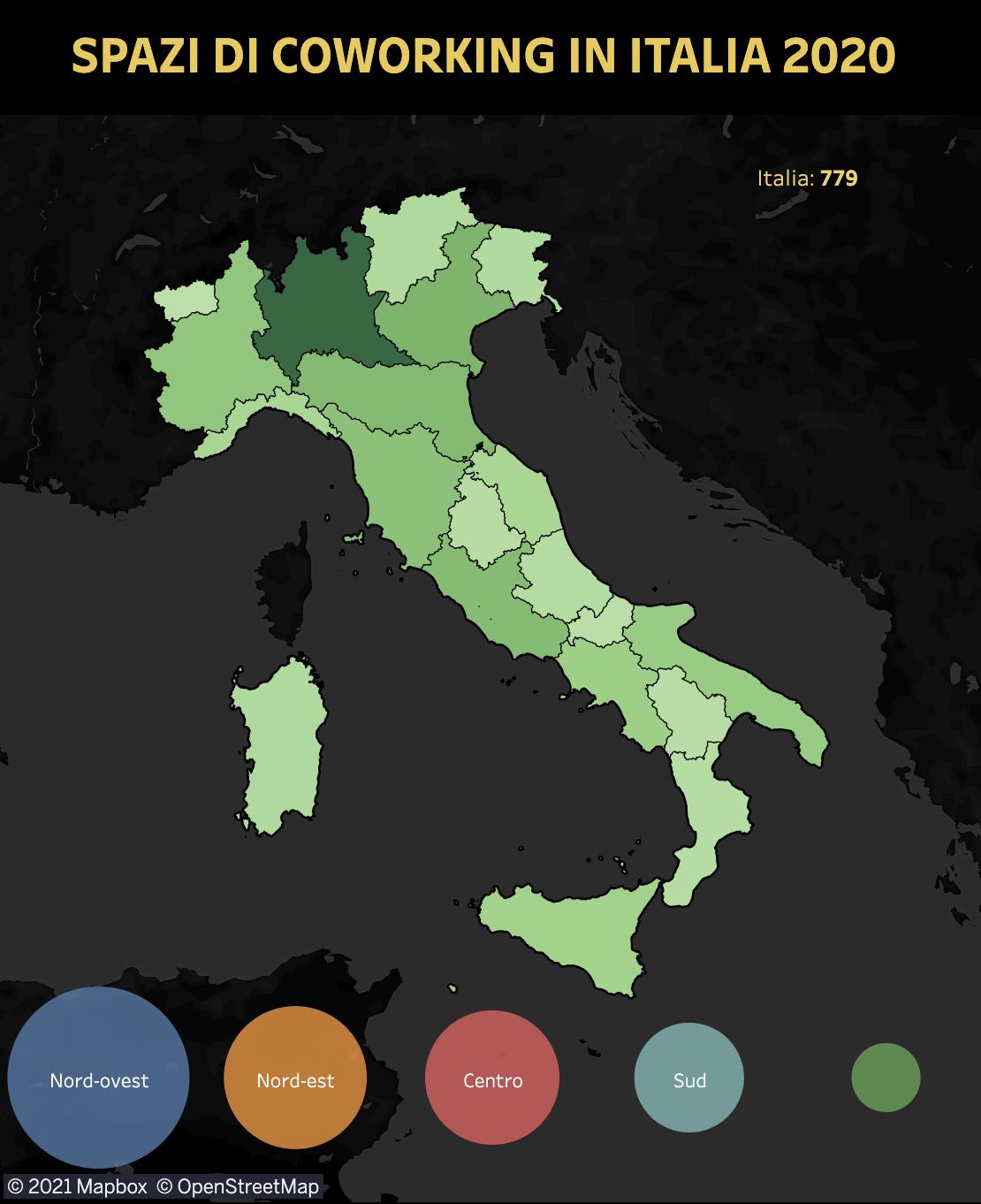 mappa coworking italia